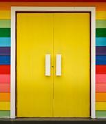 bright color wood door - stock photo