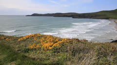 Whitesands Bay beach Pembrokeshire West Wales UK Stock Footage