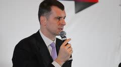 Businessman Mikhail Prokhorov Stock Footage