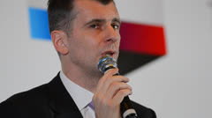 Mikhail Prokhorov meets electors Stock Footage