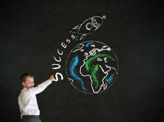 Writing boy business man with chalk globe and jet world travel Stock Photos