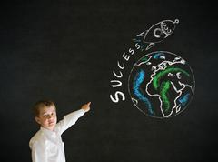 pointing boy business man with chalk globe and jet world travel - stock photo