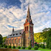 Nice catholic church in eastern europe Stock Photos