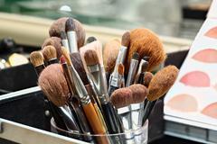 makeup artist brushes - stock photo