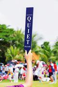 Quiet sign in golf tournament Stock Photos