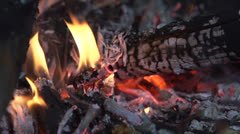 Burning pile of wood in slow motion Stock Footage
