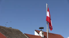 Austria - flag - roof Stock Footage