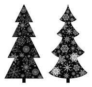 Christmas trees, silhouette - stock illustration