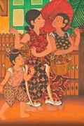 Stock Illustration of Thai women go to the market