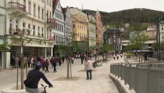 Bicyclists in Karlovy Vary, Carlsbad, Karlsbad Stock Footage