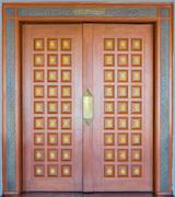 elegance wood carving door - stock photo