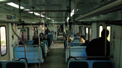 Train ride, carriage interior. Day Stock Footage