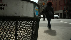 Trash can NYC Stock Footage