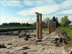 ROMAN ANTIQUITIES Forum ruins pan Stock Footage