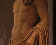 ROMAN ANTIQUITIES statue of Navarch tilt Stock Footage