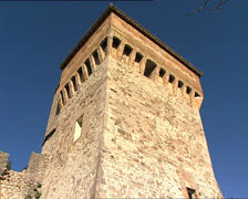 TODI Church of Consolation and medieval walls pan Stock Footage