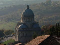 TODI Church of Consolation tilt from sky Stock Footage