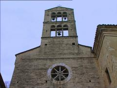 TODI Church of St Hilarius bell gable tilt - stock footage