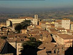 TODI old city zoom out from cathedral Stock Footage