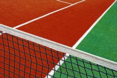 Synthetic sports field for tennis 16 Stock Photos
