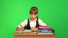 Schoolchild in classroom. Stock Footage