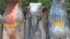 India a clay elephant at at horse temple Stock Footage