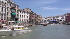 Venice Canal Grande Rialto Bridge - vehicle shot Stock Footage