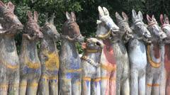 India clay horses in Tamil Nadu Stock Footage