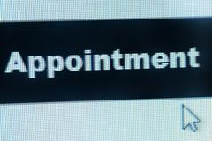 Stock Photo of appointment word and cursor