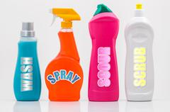 Household cleaning bottles 01-labels Stock Photos