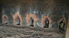 India Tamil Nadu brick works kiln doors with firewood Stock Footage