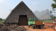 India Tamil Nadu brick works thatched hut and lorry 1 Stock Footage