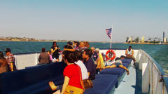 Sightseers Aboard Long Beach Harbor Tour Boat 2 Stock Footage
