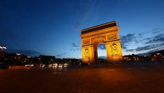 Arch of Triumph at dusk, Paris, France, HD - stock footage