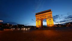 Arch of Triumph at dusk, Paris, France, HD Stock Footage