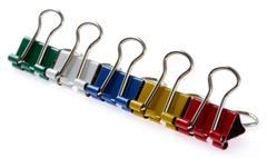 colored binder clips - stock photo