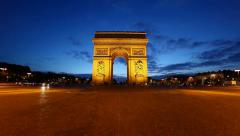 Arch of Triumph at dusk, Paris, France, HD motion blur - stock footage