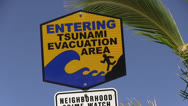 Tsunami , Entering sign Stock Footage