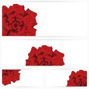 Set of red roses isolated on white background - stock illustration