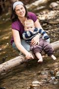 mother and son playing - stock photo