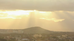 Sunset Rays Over Salt Lake and Waianae Mountain Range - Time Lapse Hawaii Stock Footage