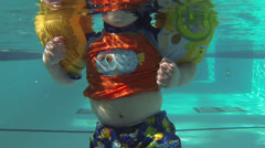 Little Toddler Kid at the Swimming Pool - stock footage