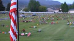 Lippu yli kukkia hautoja. Arkistovideo