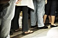 Stock Photo of standing in line