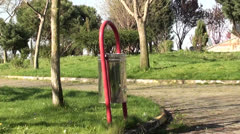 Metal bin in park - stock footage