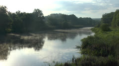 Beautiful type on the morning river - stock footage