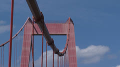 Suspender cables +  pillar of suspension bridge Emmerich Stock Footage