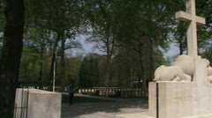 Cross of Remembrance at  Military War Cemetery Grebbeberg - pan Stock Footage
