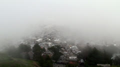 View from Twin Peaks hill  at very foggy weather. San Francisco Stock Footage
