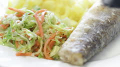 Fish Dinner on White Stock Footage